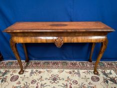 A VERY FINE GEORGE I STYLE WALNUT CONSOLE / HALL / SERVER TABLE, with cross-banded rectangular top