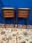 A PAIR OF MAHOGANY MARBLE TOPPED SIDE LOCKERS, each with a raised three quarter brass gallery,