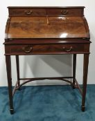 A VERY GOOD QUALITY EDWARDIAN INLAID MAHOGANY FALL FRONT BUREAU, attributed to Maples of London,