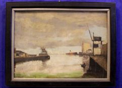 """WILLIAM KEYES MCDONNELL, """"CORK CITY HARBOUR"""", oil on board, signed lower left, 35"""" x 27"""" approx"""