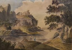 """ATTRIB. TO SOPHIA BRISCOE, """"SUMMER HILL, FIGURES FISHING IN A LANDSCAPE"""", watercolour on paper, '"""