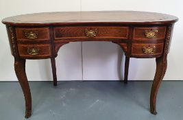 A VERY FINE EDWARDIAN ROSEWOOD INLAID KIDNEY SHAPED LEATHER TOPPE