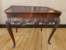 AN IRISH SILVER TABLE, with raised rim, on carved cabriole leg, w