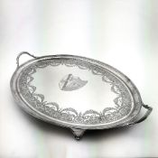 A LATE 18TH CENTURY GEORGIAN STERLING SILVER TRAY – TEA SERVING T
