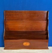 A MAHOGANY INLAID LETTER / NEWSPAPER/ MAGAZINE HOLDER, decorated