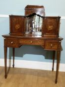 A MID 19TH CENTURY MAHOGANY AND MARQUETRY INLAID WRITING TABLE. T