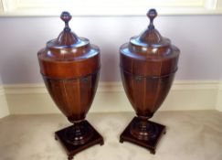 A WONDERFUL PAIR OF 19TH CENTURY MAHOGANY INLAID CUTLERY URNS, ea