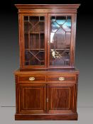 A VERY FINE MAHOGANY INLAID 2 DOOR GLAZED BOOKCASE, with astragal