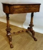 A VERY FINE 19TH CENTURY BURR WALNUT LADIES WRITING TABLE, with l