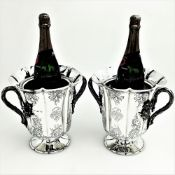 A PAIR OF MID 19TH CENTURY SILVER WINE / CHAMPAGNE COOLERS, Londo
