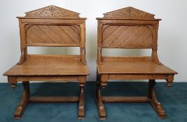 A PAIR OF 19TH CENTURY PUGIN STYLE OAK GOTHIC REVIVAL HALL CHAIRS