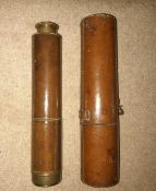 A VERY FINE 19TH CENTURY CASED TELESCOPE, 5 section, leather case