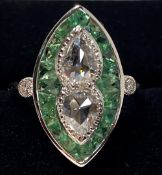 AN 18CT WHITE GOLD ART DECO PERIDOT AND DIAMOND RING, the two cen