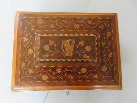 A MID 19TH CENTURY IRISH KILLARNEY WARE JEWLLERY BOX, Arbutus box, of large proportions, marquetry