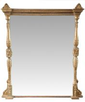 A VERY GOOD QUALITY 19TH CENTURY GILT OVERMANTLE MIRROR, decorated all over with foliage detail,