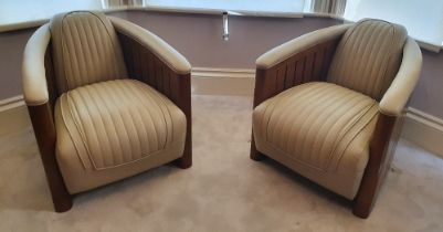 A STUNNING PAIR OF ART DECO STYLE AVIATOR CLUB ARMCHAIRS, in fresh cream stitched leather, with