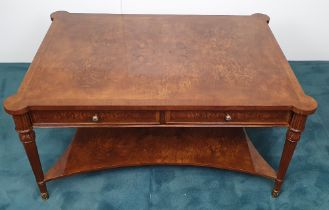 A VERY FINE BURR WALNUT HANDMADE COFFEE TABLE, having cross-banded frame to the top, two tiers, with