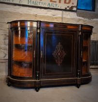 A VERY FINE LATE 19TH CENTURY EBONISED CREDENZA, circa 1860, with beautiful amboyna wood panels to