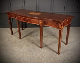 A FANTASTIC GEORGIAN MAHOGANY INLAID SERVING / HALL TABLE, of serpentine shape, with cross-banded