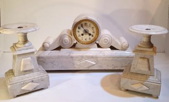 A VERY GOOD QUALITY 19TH CENTURY WHITE MARBLE GARNITURE CLOCK SET, the French works are stamped by
