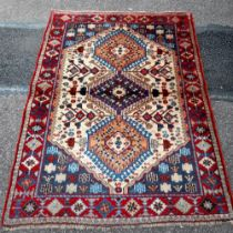 A VERY FINE PERSIAN YALAMEH HAND MADE YALAME RUG, woven by a master weaver in central Iran. A tribal