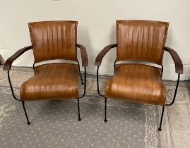 A PAIR OF CONTEMPORARY MID CENTURY MODERN STYLE LEATHER AND METAL ARM CHAIRS, with wooden arm rests,