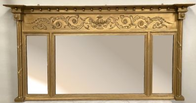A VERY FINE LATE 19TH CENTURY GILT OVER MANTLE MIRROR, with a 3 panel mirror, having ball detail