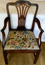 A GOOD GEORGE III CARVED MAHOGANY ARMCHAIR, from the Hepplewhite period, with shaped carved back