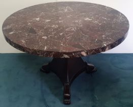 A GOOD QUALITY 19TH CENTURY MARBLE TOPPED CENTRE TABLE, circa 1830