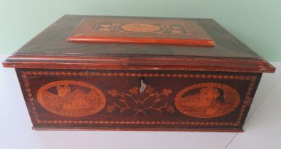 A VERY FINE KILLARNEY WARE ARBUTUS WOOD JEWELLERY BOX, of casket form, decorated with marquetry