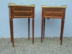 A VERY FINE PAIR OF EARLY – MID 20TH CENTURY FRENCH BEDSIDE CABINETS, each with raised pierced brass