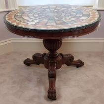 A FANTASTIC GOOD QUALITY 19TH CENTURY MAHOGANY BASED MARBLE SPECIMEN TOPPED CENTRE TABLE, raised on