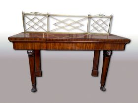 A GOOD QUALITY IRISH MAHOGANY SERVING / SIDE BOARD, with brass gallery rail to the back, with cross-