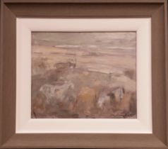 CON CAMPBELL, (IRISH 20/21ST CENTURY), GOATS, signed lower right, mixed media on board, 45cm x 40cm