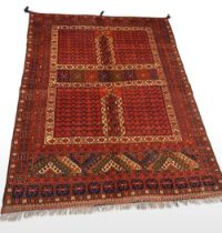 A VERY FINE RARE HATCHLI CARPET, hand woven in the Northern Provinces of Afghanistan c.1980. Materia