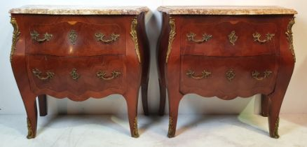 A GOOD QUALITY PAIR OF LATE 19TH CENTURY KINGWOOD MARBLE TOPPED BOMBE CHESTS, 2 drawers each with un