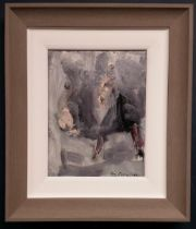 CON CAMPBELL, (IRISH 20/21ST CENTURY), BLACK PIG, oil on board, signed lower right, inscribed verso