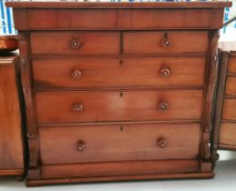 A VERY FINE LATE 19TH CENTURY MAHOGANY HIGH CHEST OF DRAWERS, with single bow fronted long frieze dr