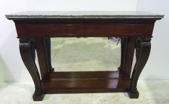 A VERY FINE 19TH CENTURY MARBLE TOPPED MAHOGANY CONSOLE / HALL TABLE, the marble top sits upon a dee