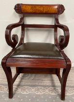 A SUPBERB METAMORPHIC REGENCY STYLE MAHOGANY AND WALNUT LIBRARY STEPS ARMCHAIR, the frame decorated