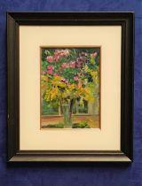 EMMA JONES, STILL LIFE FLOWERS, oil on board, signed lower right, 53 x 45cm approx frame, 29 x 21cm