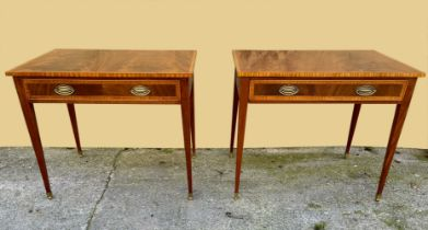 A FINE PAIR OF GEORGIAN STYLE MAHOGANY AND SATINWOOD SIDE TABLES, each with cross banded top with wo