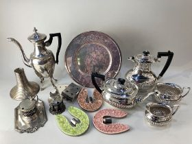 A four piece silver plated tea set of half reeded form, together with other silver plated items