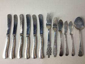 A George V silver christening fork, maker John, Edward, Walter & John Barnard, London 1935, a set of