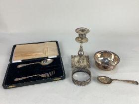 A cased George VI silver christening spoon and fork, (missing knife) maker Viners Ltd, Sheffield