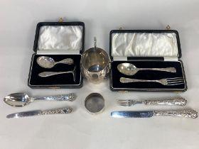 A George V silver christening mug, maker Lee & Wigfull, Sheffield 1929, monogrammed, a cased set