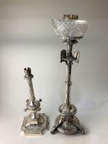 A 19th century Elkington & Co silver plated oil lamp or centrepiece base, 57cm high, (a/f - not