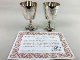 A pair of Elizabeth II silver Pershore Millennium goblets, maker Barker Ellis Silver Co,