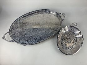 A Bravingtons, London silver plated oval tray, with pierced gallery and engraved foliate design,