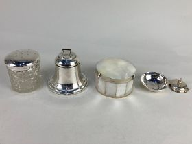 A silver inkwell, (marks worn - no liner), a white metal mounted mother of pearl circular jar and